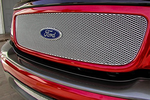 Grillcraft FOR1202S MX Series Silver Upper 1pc Mesh Grill Grille Insert for Ford -
