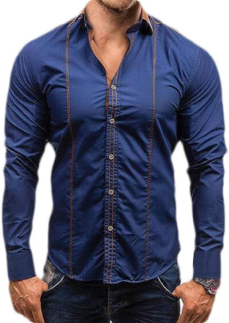 pipigo Mens Casual Button Up Long-Sleeve Slim Fit Shirts