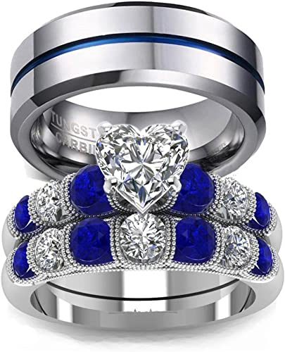 Loversring His And Hers Wedding Ring Sets Couples Rings 10k White