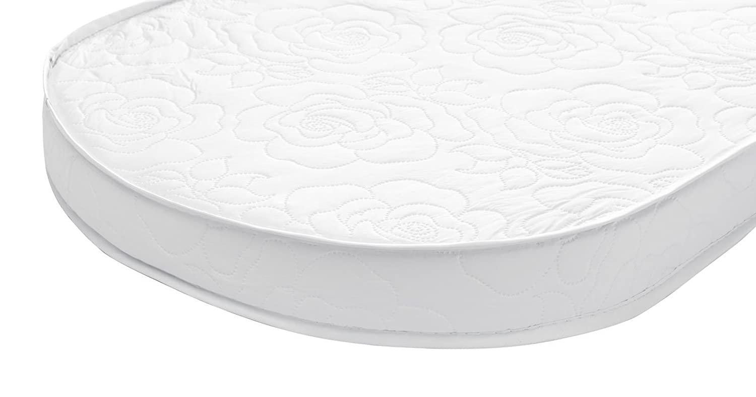 Big Oshi Waterproof Baby Bassinet//Cradle Mattress Padded Design White Comfy Including Wooden Waterproof Exterior Soft Thick 13x31x2 Breathable Foam Interior Fits Any Cradle Type