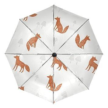 lorvies Fox patrón automático 3 plegable sombrilla sol protección Anti-UV paraguas impermeable para mujer