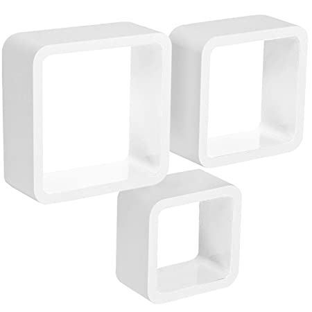 WOLTU Floating Shelves White Cube Floating Wall Shelves Set Of 40 CD Adorable White Square Floating Shelves