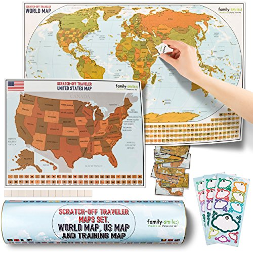 family-smile, Scratch-off Educational & Travel Log Map Set. Two in one: scratch off world map & scratch off map USA (SUMMER BONUS: four tools are included) ()