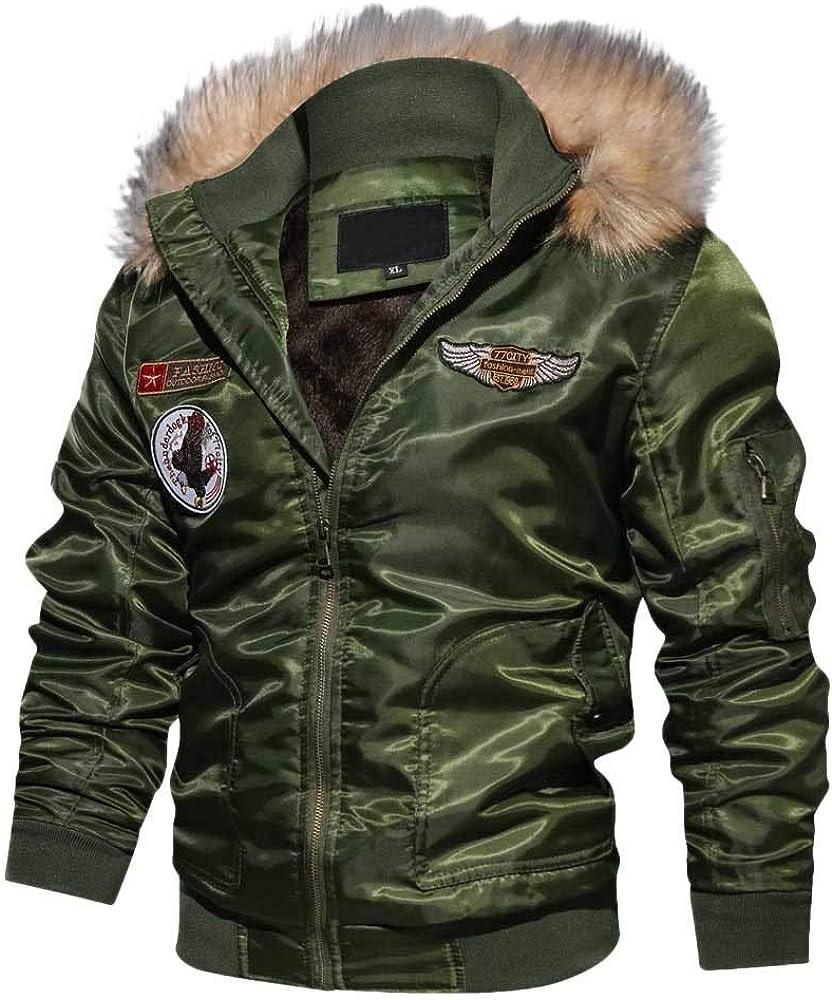 BIKETAFUWY Mens Leather Jackets Warm Thicken Coats Faux Fur Collar Overcoat Parka Casual Outerwear Zipper Winter Hoodie