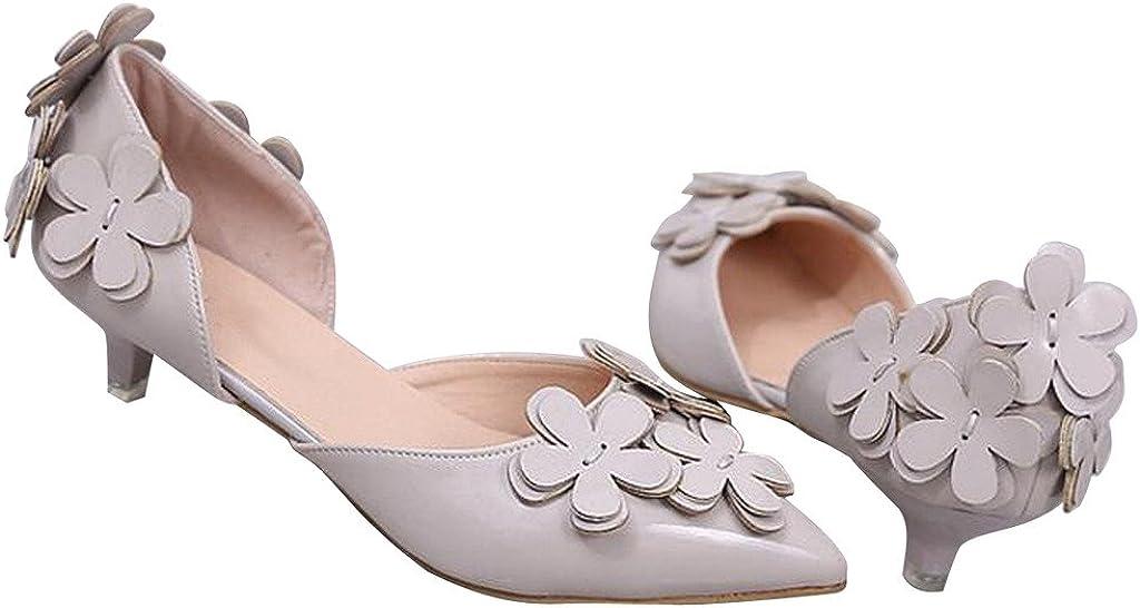 Dear Time Women Summer Flowers Low Heels Pointed Toe Pumps