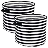 DII Cabana Stripe Collapsible Waterproof Coated Anti-mold Cotton Round Basket Bin, Perfect For Laundry Room, Bedroom, Nursery, Dorm, Closet, and Home Organization, Set of 2 Large - Black