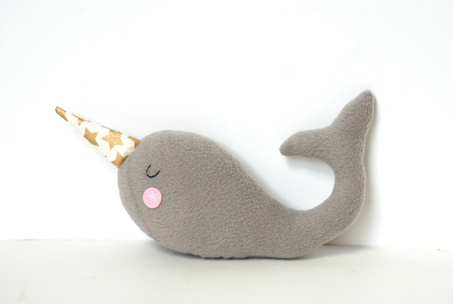 Plush Narwhal Soft Toy for Babies and Kids Gray