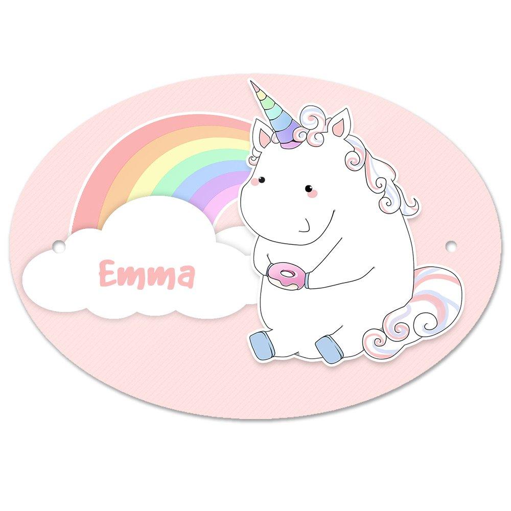 Tü rschild mit Namen Emma und Einhorn-Motiv in Pastell-Optik fü r Mä dchen | Kinderzimmer-Schild Eurofoto S0907002000773177051