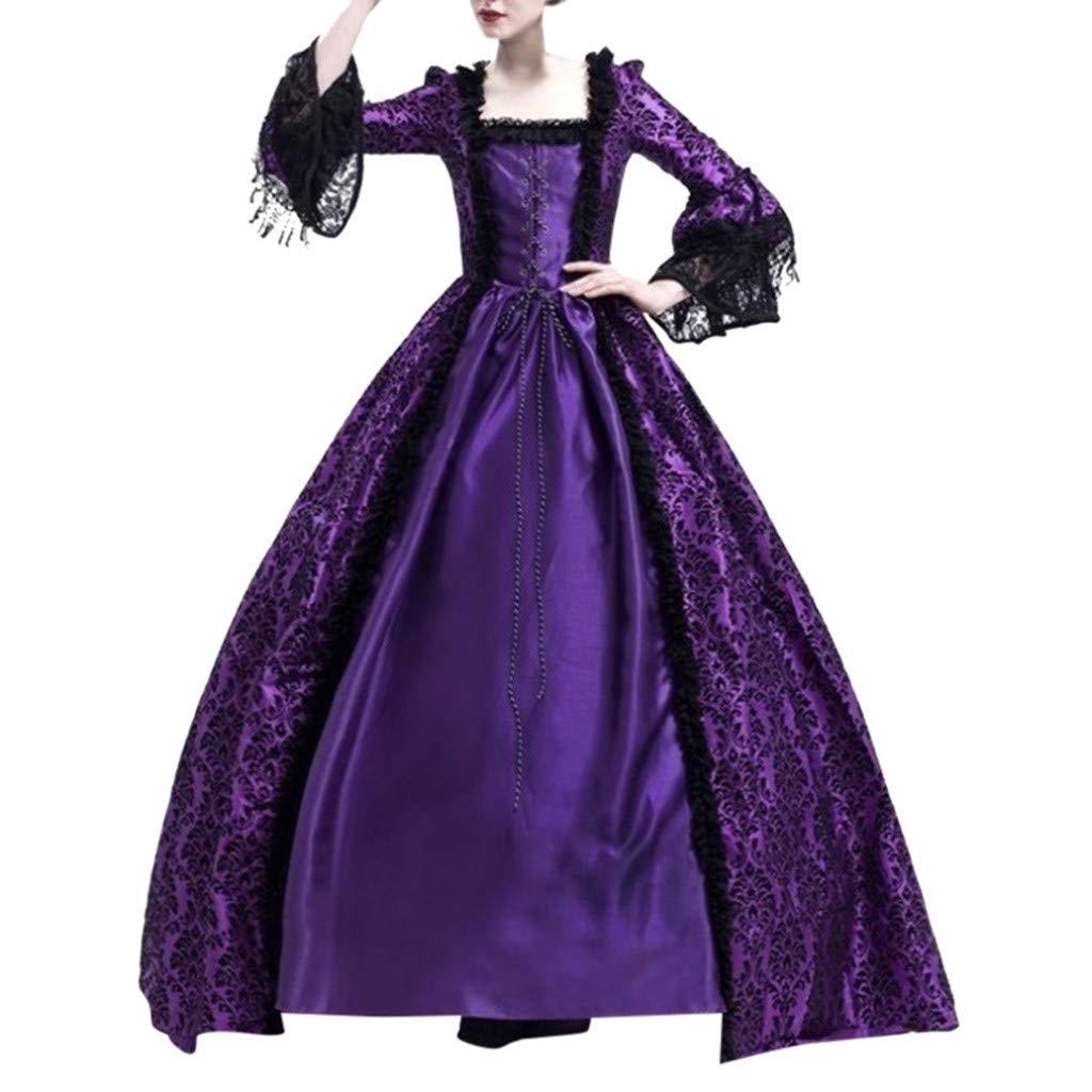 Sunyastor Women Renaissance Gothic Dark Queen Dress Ball Gown Steampunk Medieval Party Princess Cosplay Halloween Costume Purple