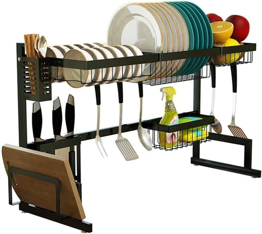 ディッシュラック、シンクオーバーディッシュドライングラック、黒201ステンレス鋼製キッチンドレンラック食器水切りオーガナイザー(シンクサイズ≤82.5cm)