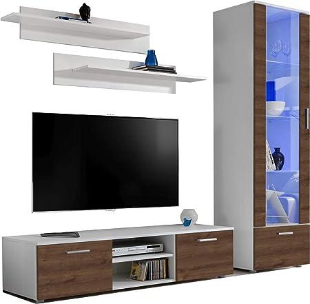 ExtremeFurniture Manhattan Mueble para TV, Carcasa en Negro Mate/Frente en Roble Bronce Mate sin LED: Amazon.es: Hogar