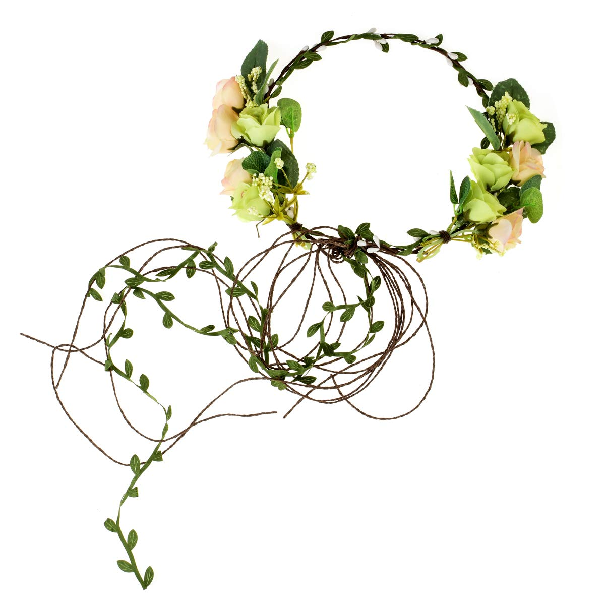 Floral Fall Adjustable Bridal Flower Garland Headband Flower Crown Hair Wreath Halo F-83 (A-Green) by Floral Fall