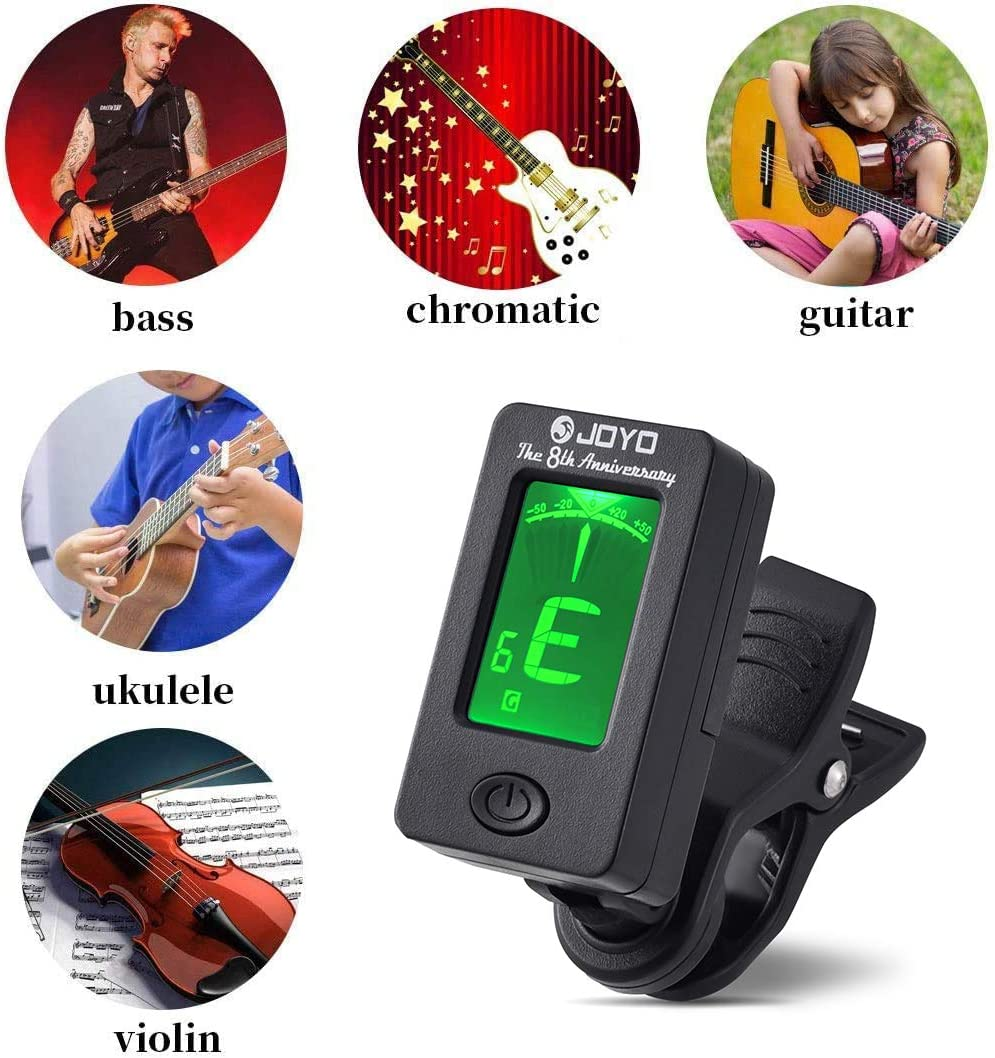 MOREYES Guitar Capo Tuner Clip On Guitar 01 Tuner and black capo Ukulele Chromatic with Guitar String Winder /& Picks /& Holder Violin Bass