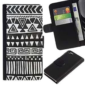 Billetera de Cuero Caso del tirón Titular de la tarjeta Carcasa Funda del zurriago para Apple Iphone 6 4.7 / Business Style Black Chevron Pattern Paper Art