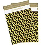 Inspired Mailers Poly Mailers 10x13 Deluxe Triangles Black/Gold - Pack of 100 - Unpadded Shipping Bags