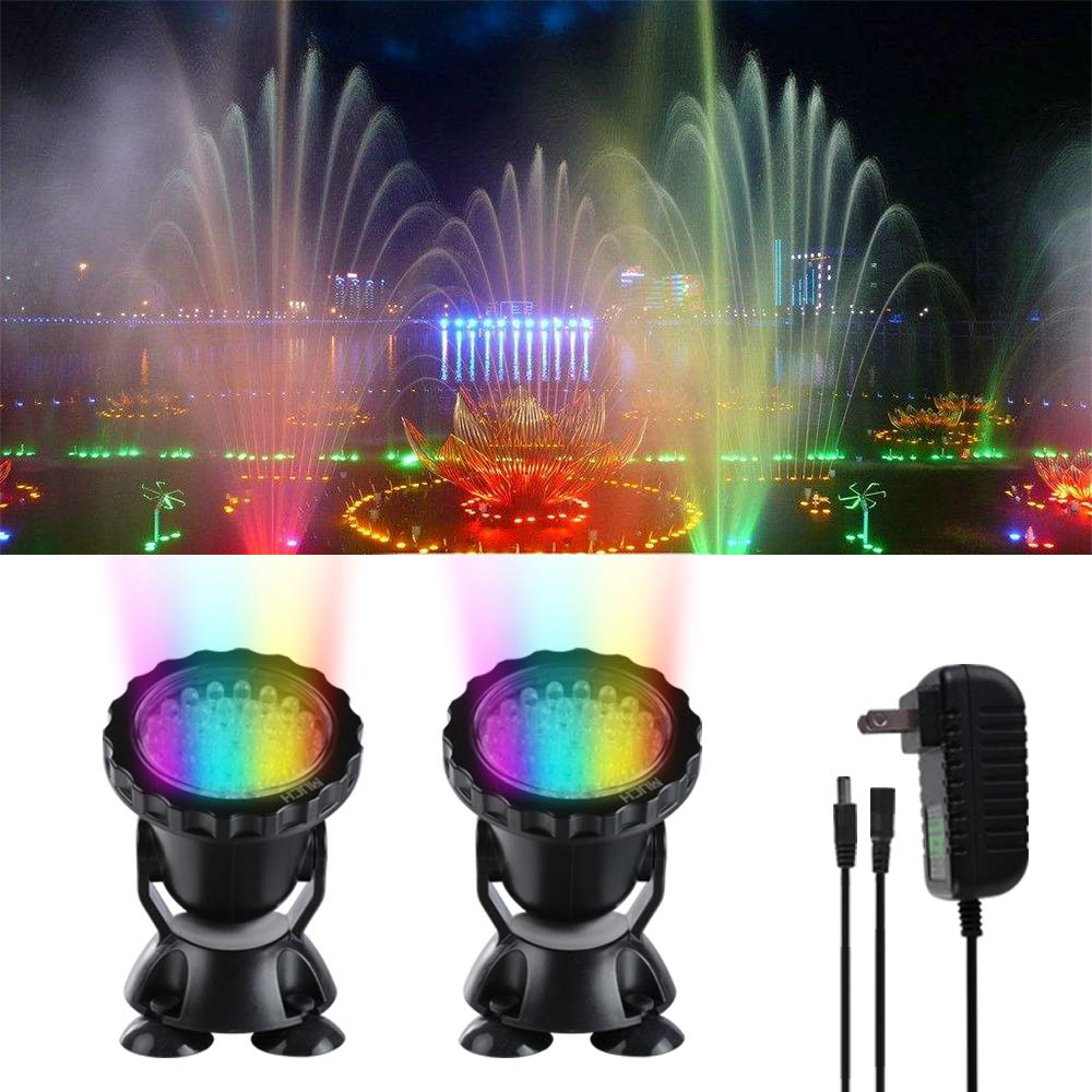 Submersible Spotlight,IP68 Waterproof Underwater Submersible Lamp 5W Multi-Color 36 LED Aquarium Spot Lights for Garden Fountain Swimming Pool Pond Lights (Set of 2)