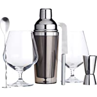 Kitchen Craft BarCraft Luxury Gin Gift Set Including Gin Glasses and Cocktail Shaker, 6 Pieces