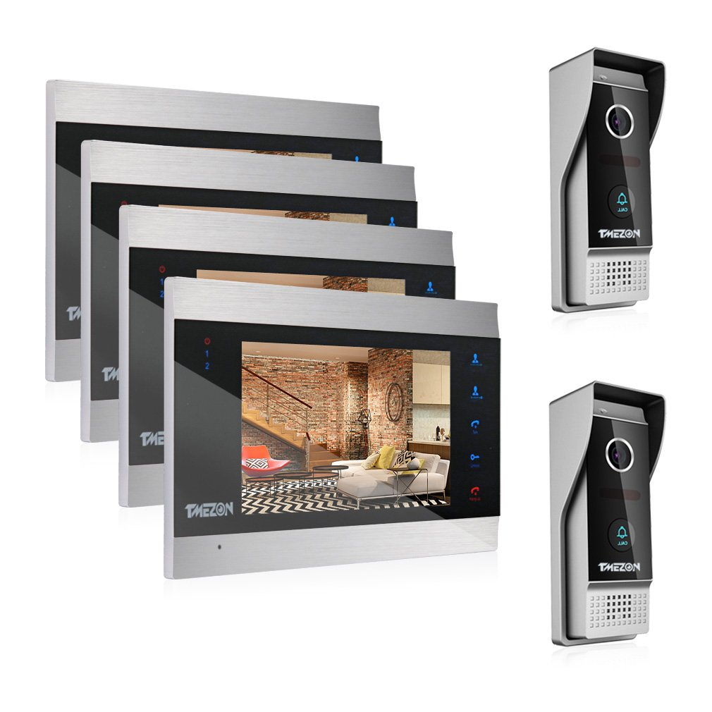 TMEZON Video Door Phone Intercom System Multi-unit Apartment Intercom Entry Kit 7 Inch Video Doorbell Camera 2V4 Units Infrared Night Vision Waterproof IP65