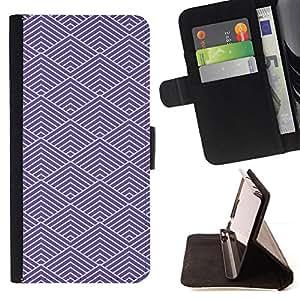 GIFT CHOICE / Billetera de cuero Estuche protector Cáscara Funda Caja de la carpeta Cubierta Caso / Wallet Case for Apple Iphone 5 / 5S // Purple Geometric Pattern //