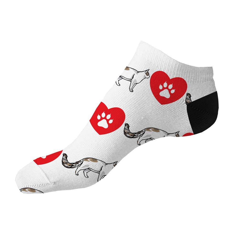 Turkish Van Cat Heart Paws Pattern #1 Men-Women Adult Ankle Socks