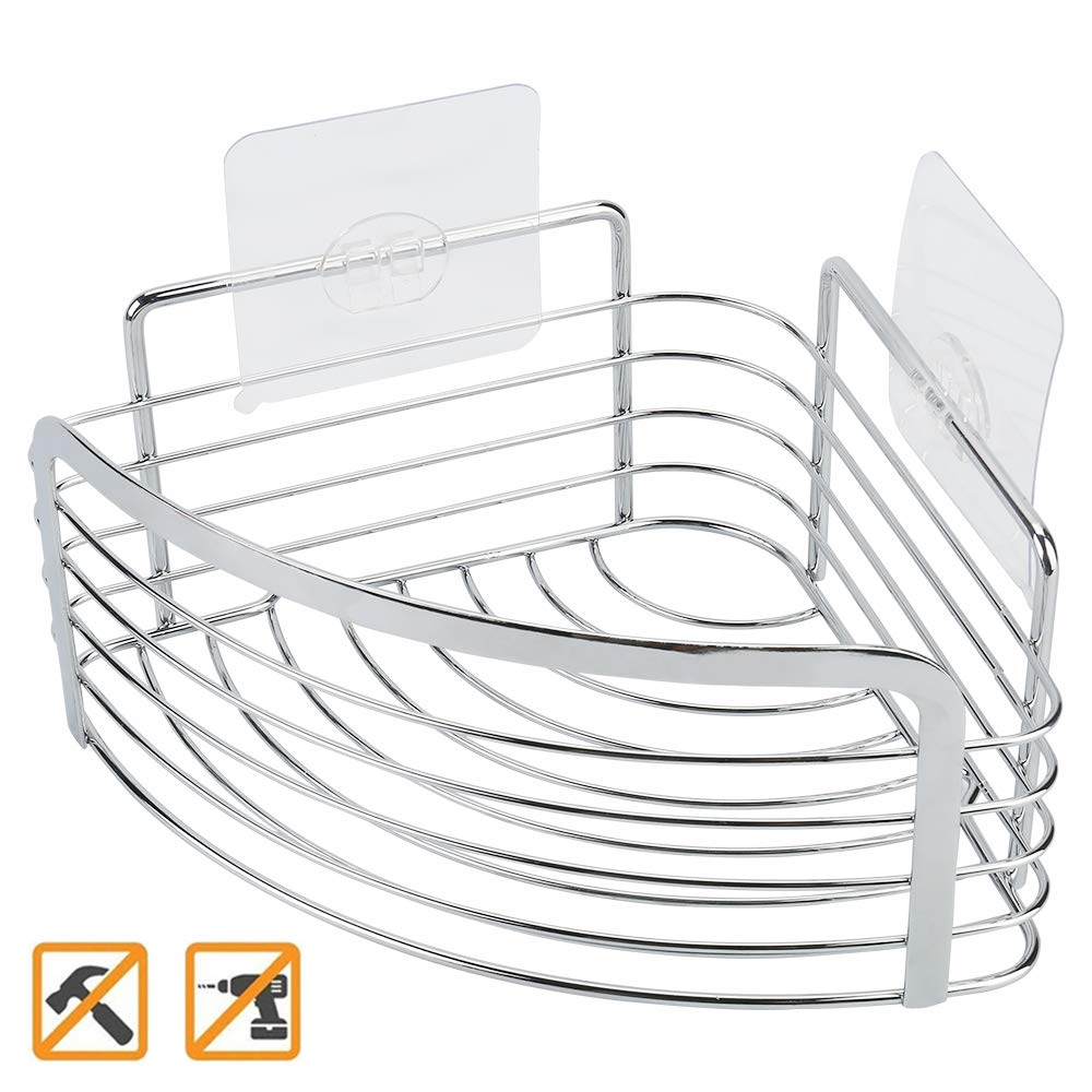 Joyfamy No Drilling Adhesive Shower Corner Caddy Basket - Stainless Steel Bathroom Kitchen Storage Shelf