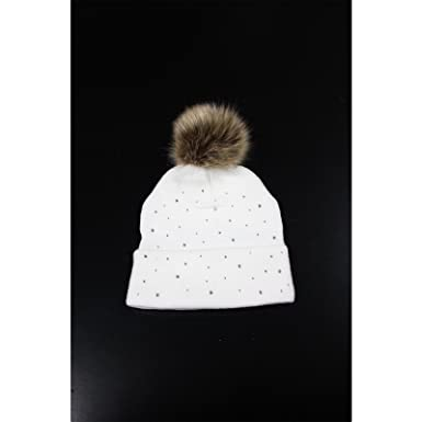 RIBBED LADIES GIRLS WINTER KNITTED BOBBLE BEANIE HAT FAUX FUR MINK POMPOM HAT