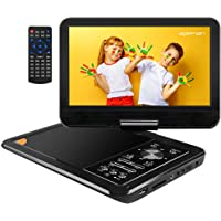 APEMAN 12'' Upgraded Portable DVD Player with 9.5'' Swivel Screen 6Hrs Built-in Rechargeable Battery Support SD Card USB Port AV in/Out Connect to a TV Earphone Speaker for Car Kids Travel Companion