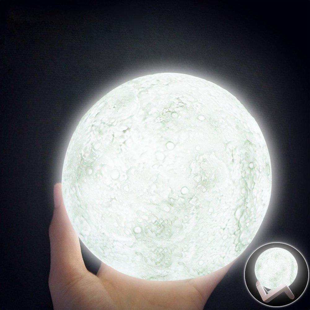 Amazon.com: Desk Lamp Moon Lamp, 3D Printed LED Lunar Moon Night ... for Moon Lamp Hanging  53kxo