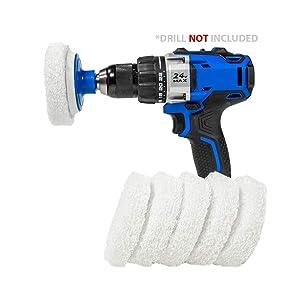 RotoScrub Bathroom Cleaning Drill Accessory Kit - White Scrub Pads