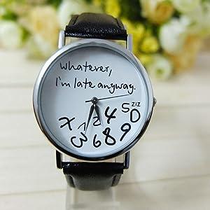 Tenworld Women Lady Girl Gift Analog Quartz Faux Leather Wrist Watch (Black)