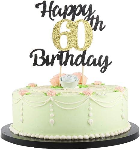 Enjoyable Amazon Com Lveud Happy Birthday Cake Topper Black Font Golden Personalised Birthday Cards Petedlily Jamesorg