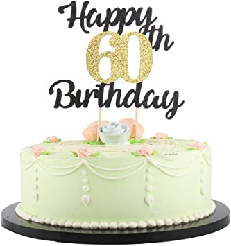 Swell Lveud Happy Birthday Cake Topper Black Font Golden Numbers 60Th Funny Birthday Cards Online Bapapcheapnameinfo