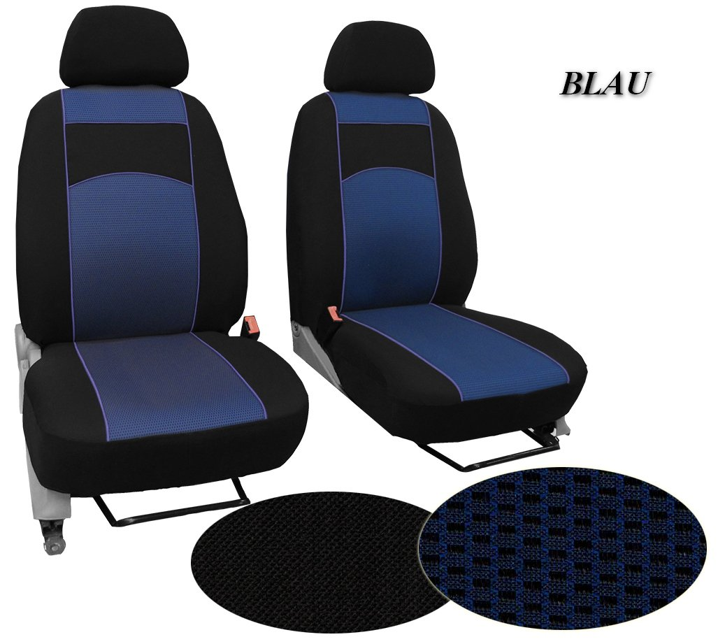 POK-TER-BUS Maß gefertigter Sitzbezug, Modellspezifischer Sitzbezug Fahrersitz + Beifahrsitzer Fü r Renault Master II. Super Qualitä t, STOFFART VIP. in Diesem Angebot Blau (Muster im Foto).