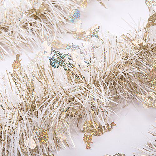 SANNO Christmas Tinsel Garland Snowman Sparkly Hanging Xmas Ceiling Decorations Classic Party Ornaments,3 Pcs 6.6 Ft (2M) x 4 inch wide Each, Gold and (Tinsel Christmas Wreath)