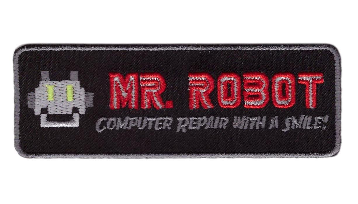 Black Mr Robot Computer Repair With a Smile Cosplay Costume Embroidered Patch Iron On by Titan One Europe