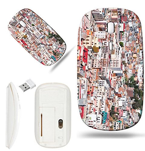 Luxlady Wireless Mouse White Base Travel 2.4G Wireless Mice with USB Receiver, 1000 DPI for notebook, pc, laptop, macdesign IMAGE ID: 20636380 Zacatecas colorful town in Mexico