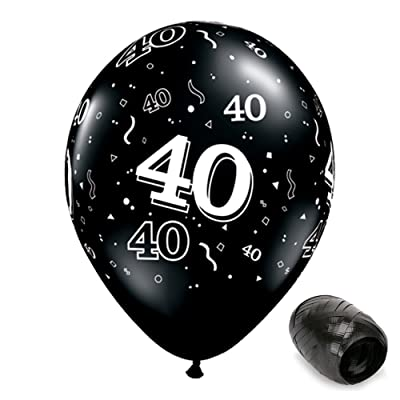 "10 Pack 11"" 40 Around Onyx Black 40th Birthday Latex Balloons with Matching Ribbons: Toys & Games"