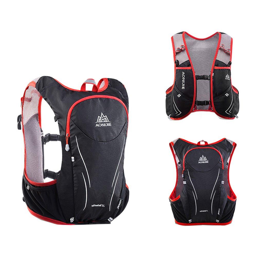 AONIJIEブラックとレッドアウトドアRunningバッグバックパックマラソン反射ハイキングサイクリングバックパックHydrationサイズS   B07D97H31W