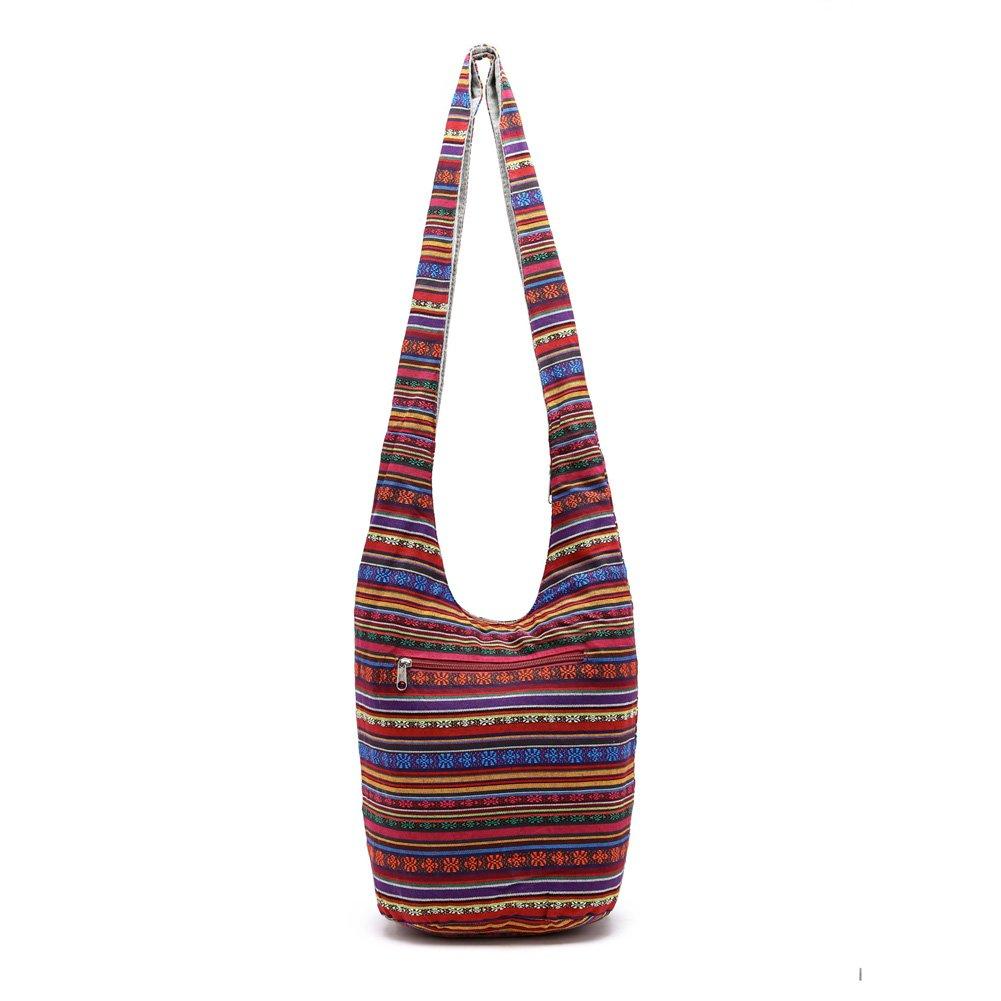 KARRESLY Bohemian Cotton Hippie Sling Crossbody Bag Hobo Bag Handmade Messenger Shoulder Bags(Red)
