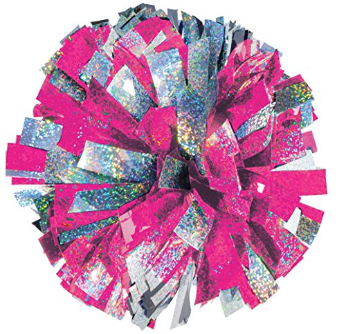2-Color Holographic Mix Youth Cheer Pom - Pink/Silver
