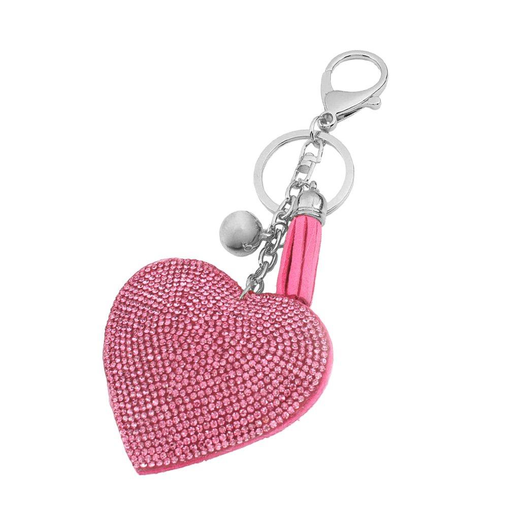 Porte-cl/és Mousqueton Port Clef Bijoux Mode Cadeau Femme Pendentif Coeur Strass Rouge