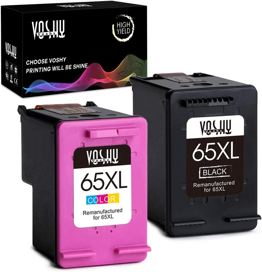 Voshy Remanufactured Ink Cartridges Replacement for HP 65XL 65 XL Used to DeskJet 3755 2655 3752 2652 2624 Envy 5055 AMP 100 Printer (Black and Tri-Color, 2-Pack)