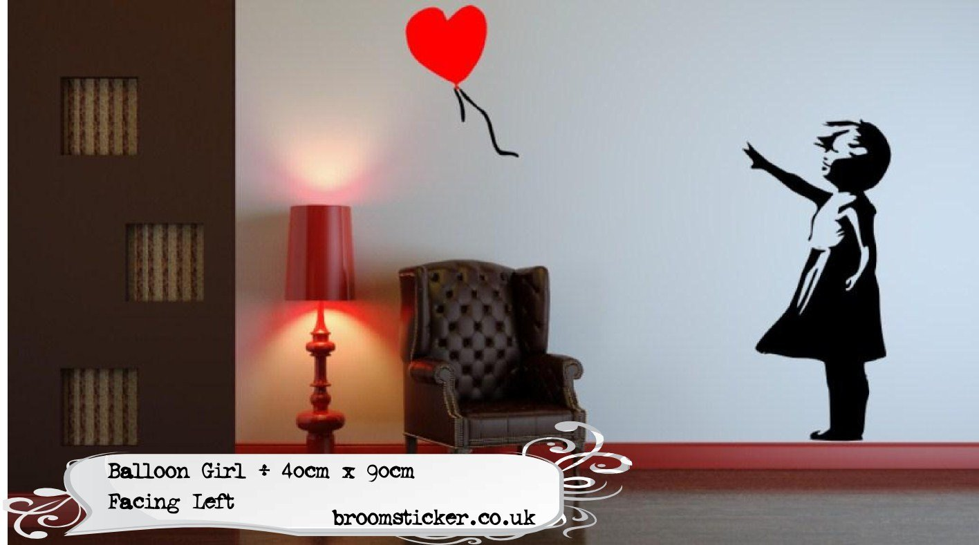 banksy balloon girl wall sticker 40x90cm facing left easytime uk banksy balloon girl wall sticker 40x90cm facing left easytime uk amazon co uk kitchen home