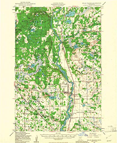 (Belle Prairie MN topo map, 1:62500 Scale, 15 X 15 Minute, Historical, 1948, Updated 1961, 27.23 x 21.53 in - Paper)