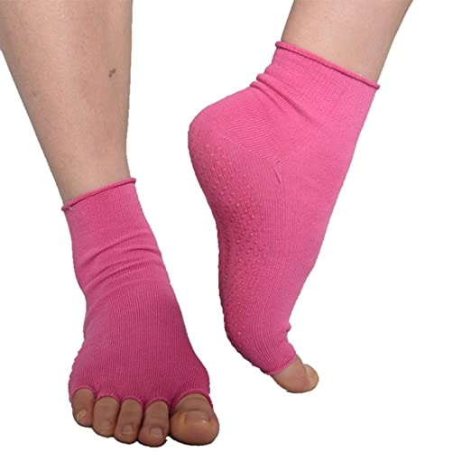 PinkBTFY Womens Open Toe Non Slip Cotton Calcetines Fitness Compression Yoga Socks 1232pink M