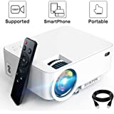 """Mini Projector - 3600L Hompow Smartphone Portable Video Projector 1080P Supported 176"""" Display, 50,000 Hours Led, Compatible with TV Stick/HDMI/VGA/USB/TV Box/Laptop/DVD/PS4 for Home Entertainment"""