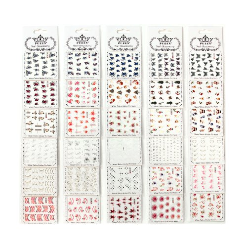 PUEEN Nail Art Water Tattoo Sticker WM1 - 30 Packs All Different Designs (Over 600 Stickers) Gold & Silver & Colorful Glitter Rhinestones Rose Heart Butterfly Nails Decal Decorations-BH000443