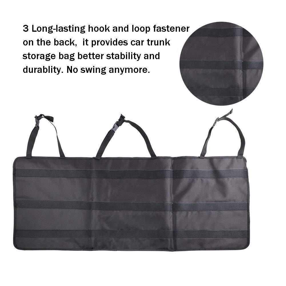 PowerTiger Kofferraum Organizer Auto R/ücksitz Aufbewahrungstasche Wasserdicht Kofferraumtasche mit Mehrere Netz Taschen