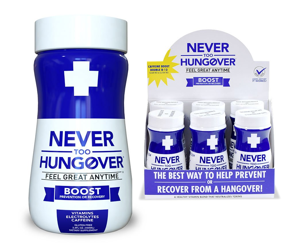 Never Too Hungover - 6 pack of 3.4 oz bottles - Hangover Recovery/Prevention Drink with Caffeine, Double B-12 - Sugar Free & Low Calorie