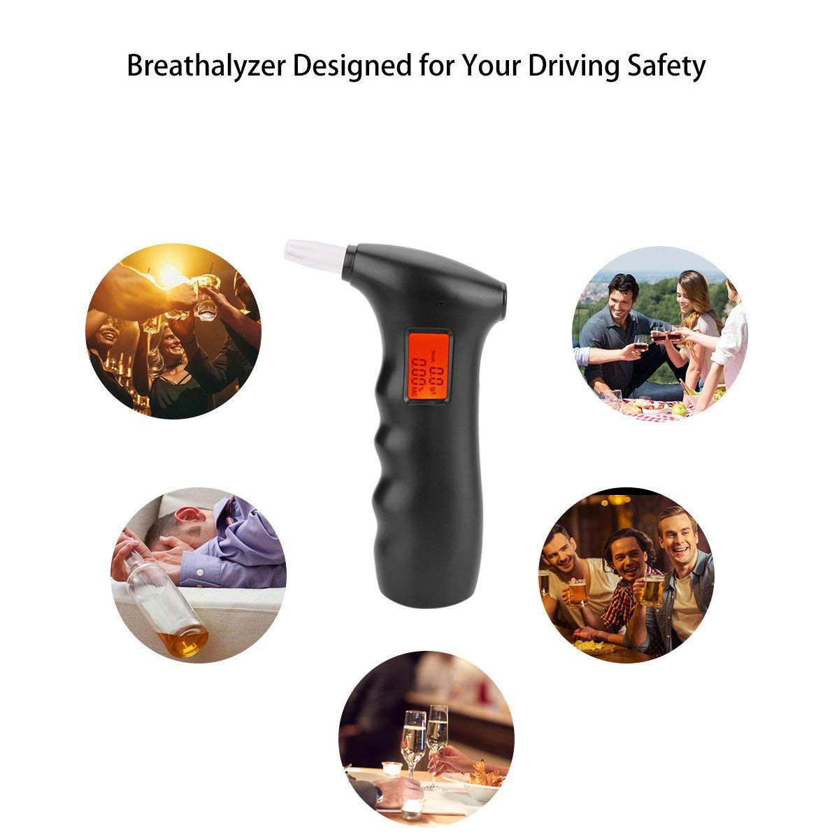 Large Digital LCD Display Extra 5 Pcs Mouthpieces Alcohol Tester in the back of the tester POMILE Breathalyzer Portable Breath Analyzer with Semi-conductor Sensor